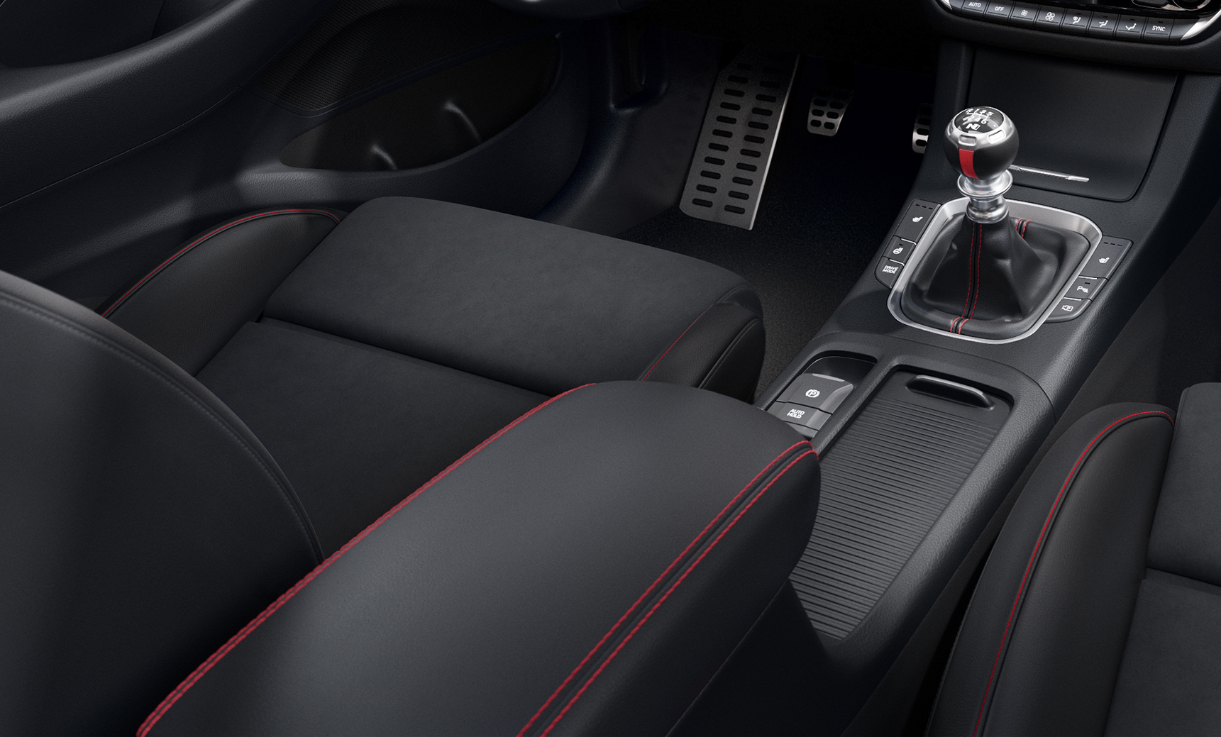 Close-up of the red accent stitching in the new Hyundai i30 N Line Fastback interior.